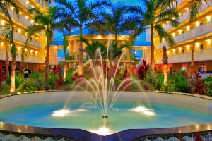 Tropical courtyard at Sunset Vistas.