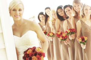 Wedding party at Cabins at Highland Falls.