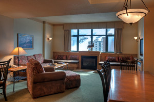 Condominium living room at The Steamboat Grand.