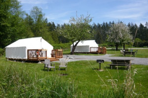 Tent cabins at West Beach Resort.