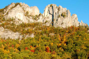 Seneca Rocks near Smoke Hole Caverns & Log Cabin Resort.
