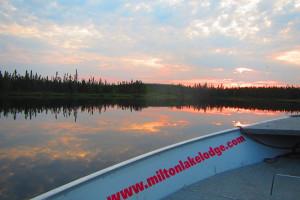 Lake view at Milton Lake Lodge Saskatchewan.