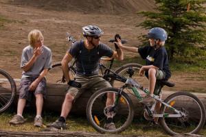 Family biking at Red Tree Lodge.