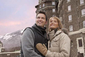 Couple outside The Fairmont Banff Springs.