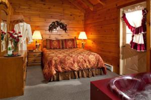 Honeymoon cabin at Smoke Hole Caverns & Log Cabin Resort.