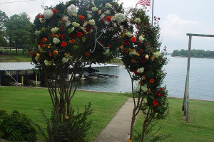 Wedding flower arrangement at Paradise Cove Marine Resort.