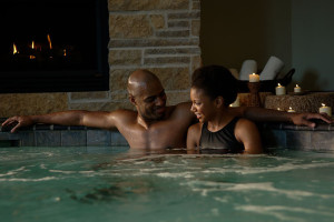 Romantic hot tub at The Osthoff Resort.