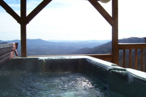 Hot tub view at Asheville Connections.
