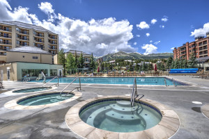 The largest outdoor pool in Breckenridge with views of Breckenridge Ski Resort