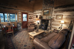 Log cabin interior at Cottonwood Meadow Lodge.