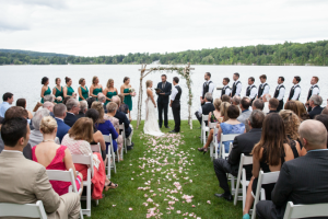 Lakeside wedding ceremony at Interlaken Resort & Conference Center.