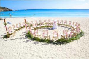 Beach wedding at Island Properties Luxury Rentals.