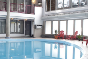 Indoor pool at Maligne Lodge.
