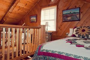 Cabin bedroom at Buffalo Outdoor Center.