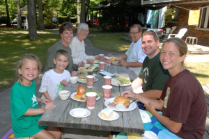Family picnic at White Birch Lodge.