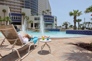 Relaxing poolside at Laketown Wharf.