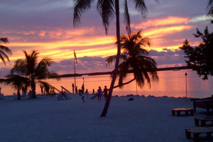 Sunset on the beach at Hampton Inn & Suites Islamorada.
