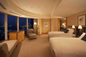Guest room at The Yokohama Bay Hotel Tokyu.