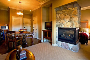 Studio suite at Grand Cascades Lodge at Crystal Springs Resort.