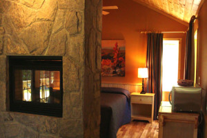 Chalet bedroom at Port Cunnington Lodge.