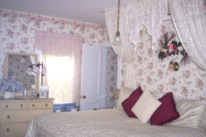 Bride/Delue's Suite at Farm by the River Bed & Breakfast with Stables. King with fireplace in one room; queen with twin and TV/DVD.Private private shower bath/tub combination. Can be sold separately for 2 people in one room with private bath or 4-5 people for the 2 room suite.