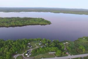Aerial view of The Lodge at Parent Lake.