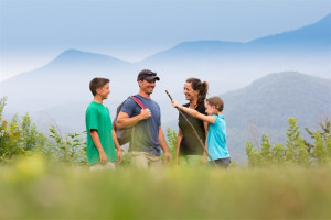 Family hiking at Mountain Shadows Resort.