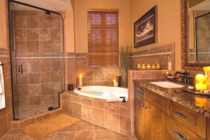 Lodge bathroom at Pronghorn Resort.