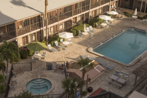 Aerial view of pool area at Sea Oats Beach Club.