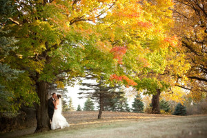 Wedding couple at Five Lakes Resort.