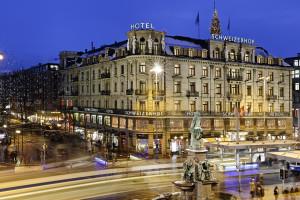 Exterior view of Hotel Schweizerhof Zürich.