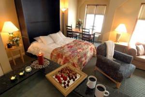 Guest bedroom at Homewood Suites.