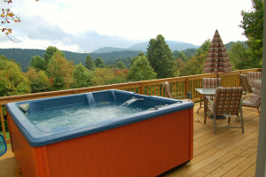 Cabin jacuzzi at Royal Oaks Cabins.