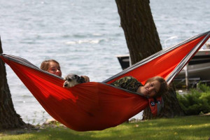 Relaxing by the lake at Big McDonald Resort.