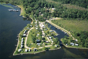 Aerial view of Marclay Point Resort & Campground.