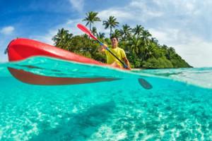 Kayaking at Barefeet Rentals.