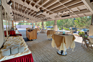 New West Deck Covered Pavilion, perfect for outdoor receptions at Mount Bachelor Village Resort.