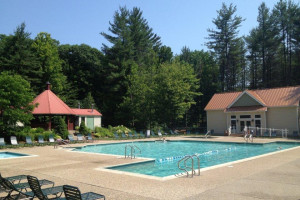 Attitash Mountain Village outdoor pool at North Conway Lodging.