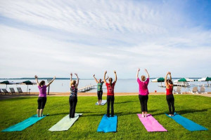 Yoga class at Grand View Lodge.