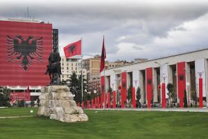 Exterior view of Tirana International Hotel.