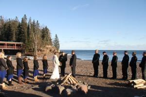Beach wedding at Lutsen Resort on Lake Superior.