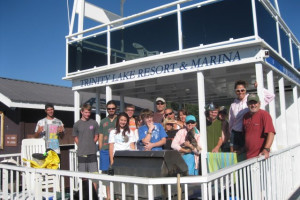Family on houseboat at Trinity Lake.