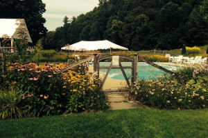 Outdoor pool at Three Stallion Inn.