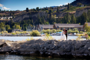 Wedding couple at Summerland Waterfront Resort.