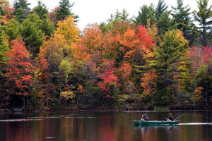 Lake and fall colors at Cherry Beach Resort.