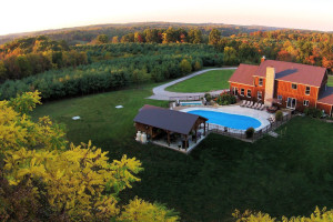 Aerial view of Hocking Hills Luxury Lodging.