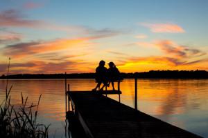 Enjoying the sunrise at Twin Lake Landing.