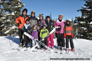 Family skiing at Steamboat Lodging Properties.