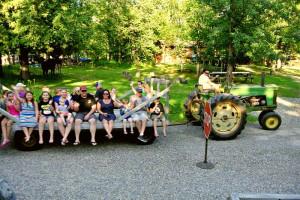 Tractor ride at Galles' Upper Cullen Resort.