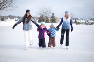Family skating at Grand Traverse Resort.